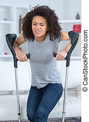 difficulty in using crutches