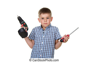 Difficulty of choosing the instrument by a little cute boy builder in checkered shirt, isolated on white background