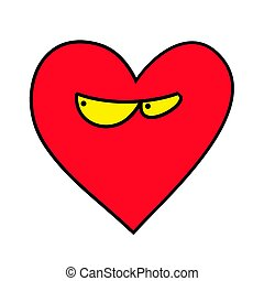 diffidente, heart., cuore, agent., cuore, emoticon.