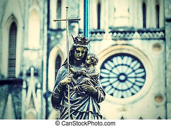 diffus, vierge, porter, marie, statue, enfant, marbre