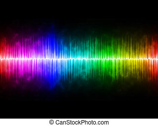Diffusely Rainbow Soundwave with Black Background
