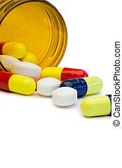 diffusion, coloré, pilules