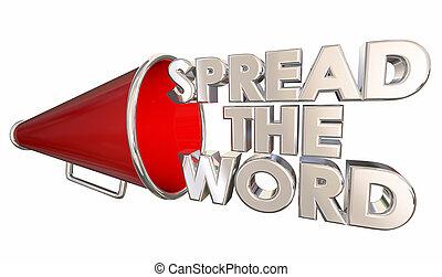 diffusion, les, mot, partagez information, bullhorn, porte voix, 3d, illustration
