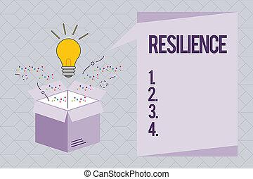 dificultades, recobrar, conceptual, texto, señal, resilience., actuación, foto, rápidamente, capacidad, persistencia
