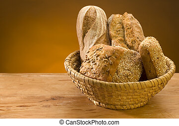 bread - difrent bread in basket close up with space on the ...