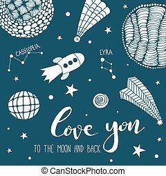 dig, bac, måne, kärlek