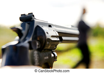 dig, med, a, gevär, sikta, till, folk