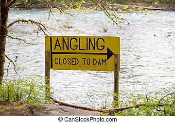 diga, pesca con la lenza, chiuso, segno