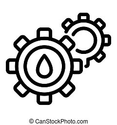 Digestion gear system icon, outline style