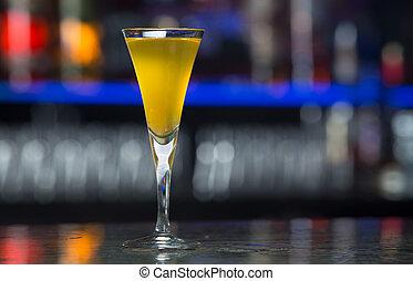 Digestive liquor - Glass of digestive yellow honey liquor in...
