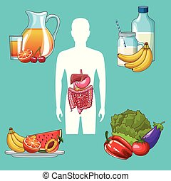 Digestive system concept - Man silhouette with digestive ...