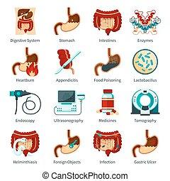 Digestive System Flat Icon Set
