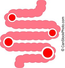 digestivo, problema, ícone, vetorial