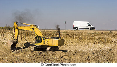 Digger and truck