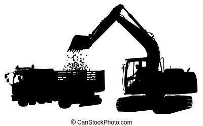 Digger and truck silhouette - Editable vector silhouette of...