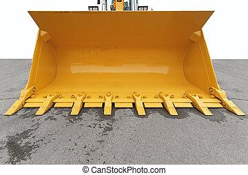 Digger bucket - Big yellow bucket scoop at digger machine