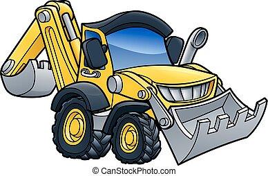 Digger Bulldozer Cartoon - Cartoon bulldozer digger ...