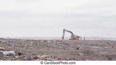 Flock of birds flying over vehicles working and clearing rubbish piled on a landfill full of trash with cloudy overcast sky in the background in slow motion