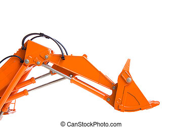 Digger excavator arm isolated on white background