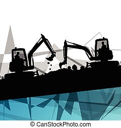 Digger excavator machinery digging action in construction site abstract vector background