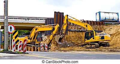 digger, Heavy Duty construction equipment parked at work...