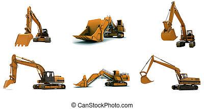 Digger - Larger orange digger isolated on white background