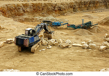 Digger - digger in quarry- open-pit mine