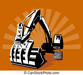 Digger with sunburst in t - Illustration on construction ...