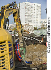 digging machine on a construction site