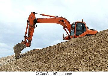 Digging Machine Working - Digging machine excavation in a...