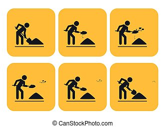 Digging man. Animation
