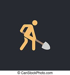 Digging man. Vector illustration of animation throwing the ground ahead computer symbol