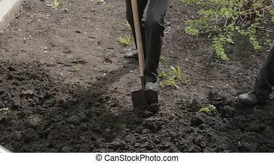 digging shovel earth, soil processes