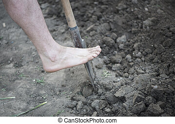 Digging spring soil with schovel - Empty Foot on Schovel...