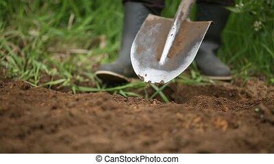 Digging spring soil with shovel. Close-up.