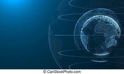 digitális, földdel feltölt, összeköttetés, hálózat, forgás, közül, bolygó, világ térkép, háttér