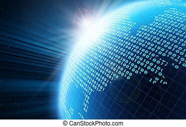 digitális, földgolyó