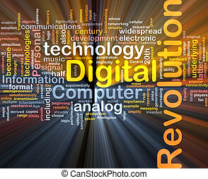 digitális, forradalom, háttér, fogalom, izzó
