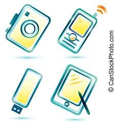 digitális, multimédia, ikonok