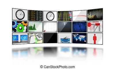 digitális, screens., hd., loop., mask.
