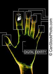 digitális, személyazonosság, fekete