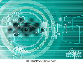 digitális, szem