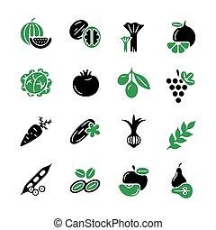 digitális, zöld, fekete, növényi, ikonok