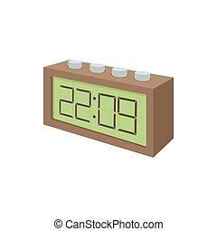 digitální, deska, hodiny, ikona, karikatura, móda