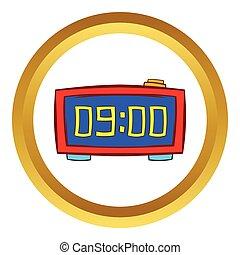 digitální, deska, hodiny, vektor, ikona, karikatura, móda
