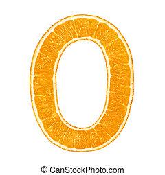 Digit 0 made from orange fruit isolated