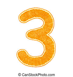 Digit 3 made from orange fruit isolated