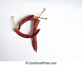 Digit 4 lined with red peppers on a white background. Symbol in the form of the digit 4. Pepper lined in the digit 4 on a white background.