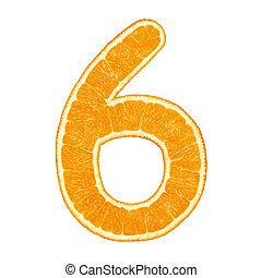 Digit 6 made from orange fruit isolated