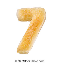 Digit 7 made with cookie or biscuit isolated on white